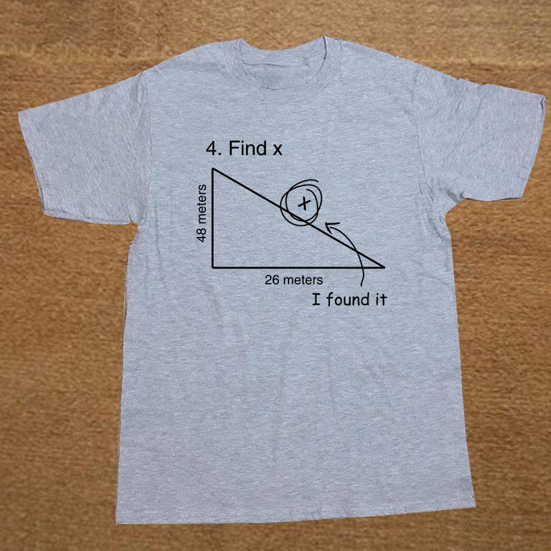 Find Variable X Math Teacher Funny   T     Shirt   Men Short Sleeve Printed Cotton Cartoon   T  -  shirt   Tops