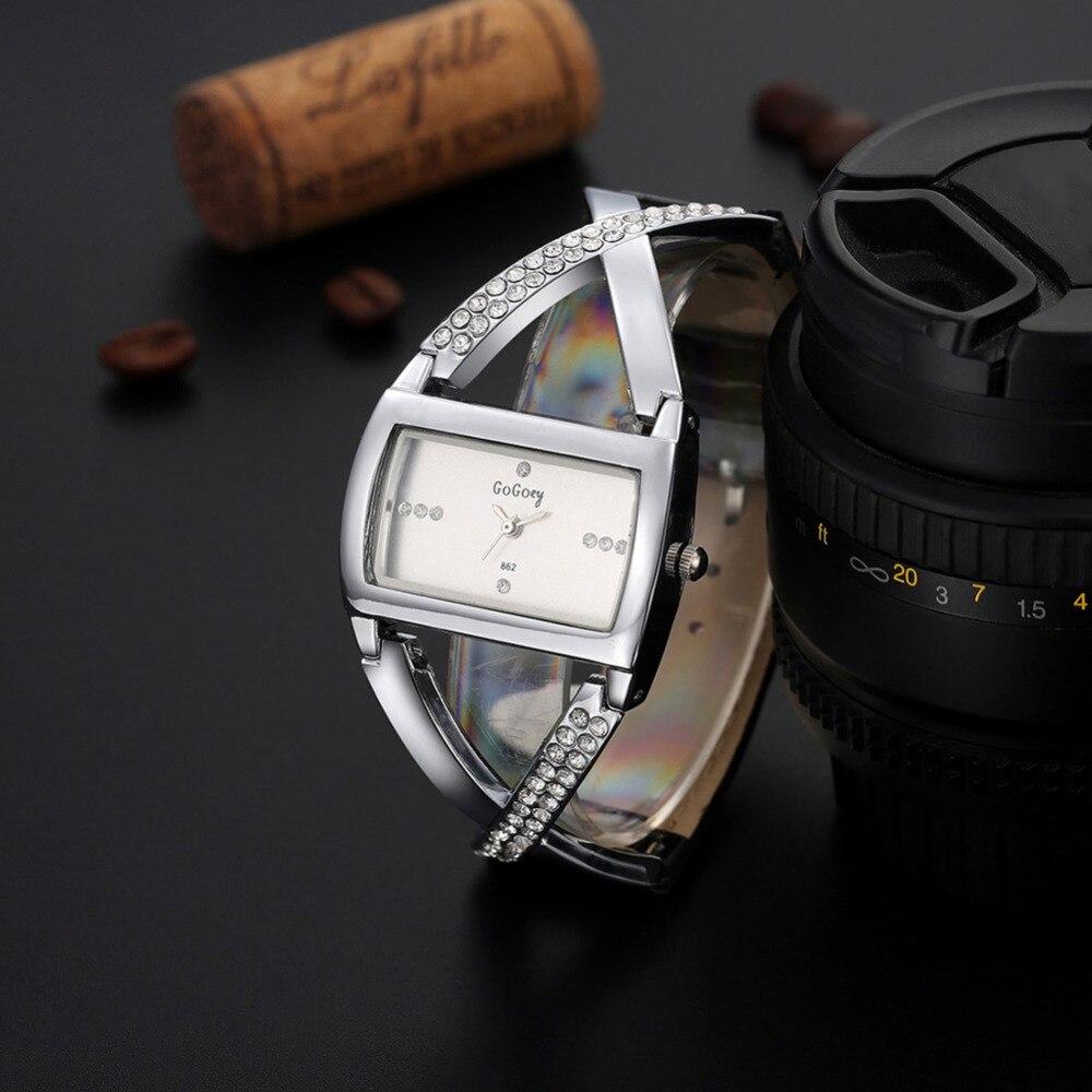 2019 New Luxury Brand Gogoey Women Watch Unique Fashion Designer Rectangular Dial Crystal Quartz Watches Leather Straps Clock