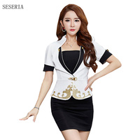 SESERIA Black Blue Red Women Sexy Stewardess Uniforms Ladies Air Hostess Costumes Party Uniforms Tops Skirts