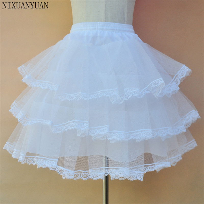 New Children White Petticoat 3 Layers Lace Tulle Underskirt Flower Girl Dress Short Crinoline Little Girls/Kids/Child Underskirt