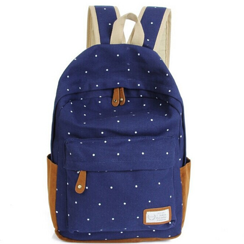 color Cute Korean style double-Shoulder book Bags fashion girls women canvas Dots schoolbag middle school students backpacks Q5