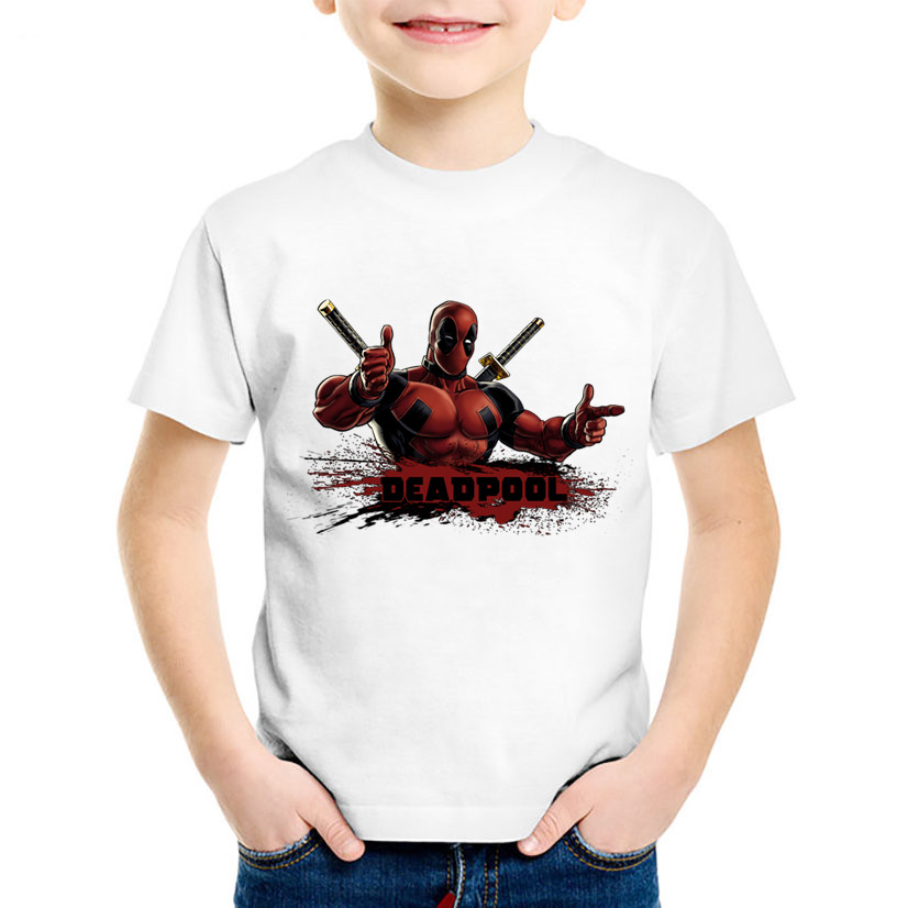 Anime Print Deadpool Children Funny T-shirts Kids Cool Summer Short Sleeve Tees Boys/Girls Casual Great Top Baby Clothing,HKP314