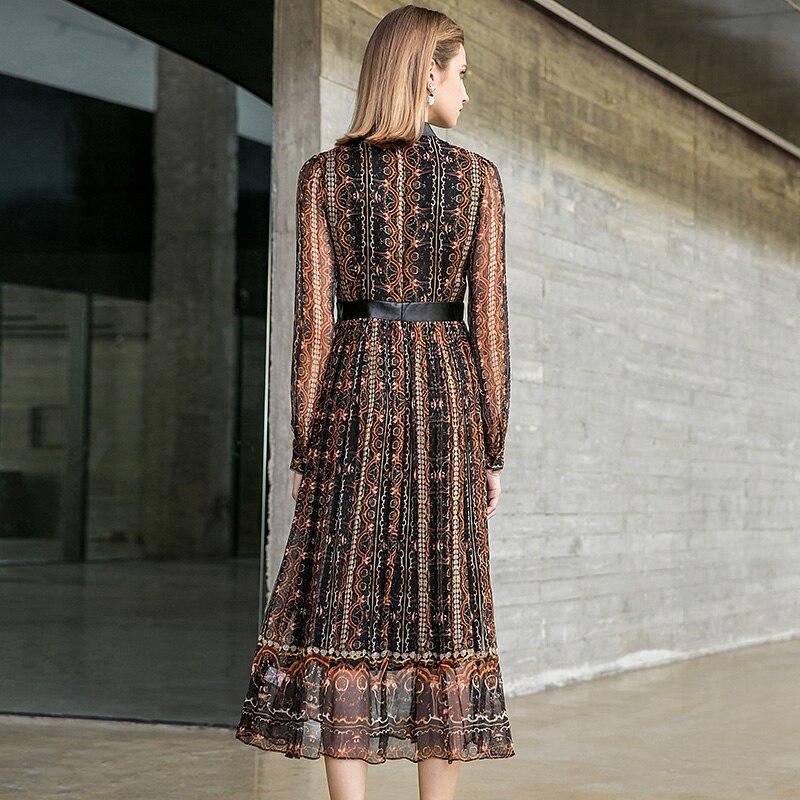 Grand Robe Mot Impression Un Pokwai L'automne Soie De Féminine 2018 Début Manches À Nouveau Longues Couture Mode Multi gwvXOqvf5