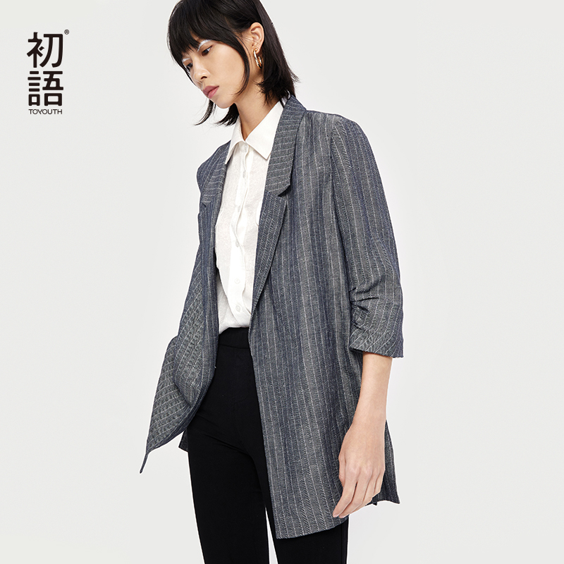 Toyouth Vintage Stylish Striped Blazers Coat Women 2019 Fashion Notched Collar Three Sleeve Office Ladies Outerwear Casaco Femme