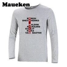 Men Retro Squad Crossword AC Milan Legend Baresi Maldini Van Basten t shirt Shevchenko Kaka Gullit Rijkaard T-Shirt W17100103