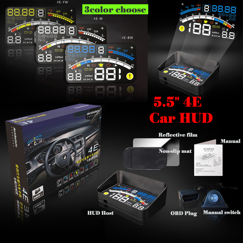 Interior Lighting 4E EUOBD Auto 5.5 HUD Head Up Display Windscreen Projector OBD II Car Data Diagnosis For all cars rastp m9 hud 5 5 inch head up windscreen projector obd2 euobd car driving data display speed rpm fuel consumption rs hud011