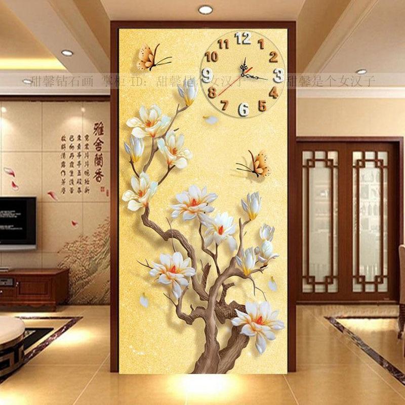 Living Room Corridor Entrance 5D Square Drill Full Diamond Painting Cross Stitch White Magnolia Butterfly Wall Decor Clock