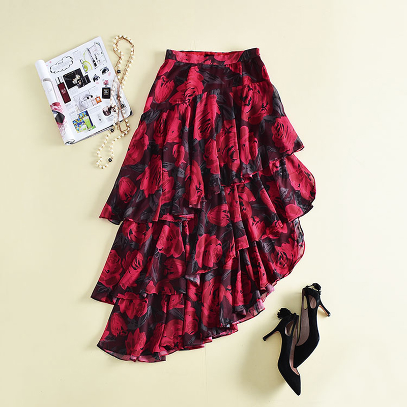 HIGH QUALITY New Fashion 2018 Designer Runway Skirt Women's Cascading Ruffle Asymmetrical Skirt high quality skirt