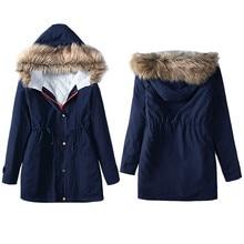 Зимняя куртка 2016 г. корейский стиль Для женщин s куртка зимняя парка с капюшоном Пальто и Пуховики Топ хлопок дамы пальто Верхняя одежда плюс размер пальто mA
