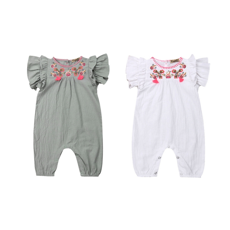 Cute Baby Girl Infant Ruffles Floral   Romper   Sunsuit Jumpsuit Outfit Children Kids Summer Clothes Princess   Rompers   Overalls Tops
