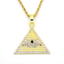 Men Women Iced Out Crystal Evil Eye pendants Egyptian Pyramid necklaces  N544