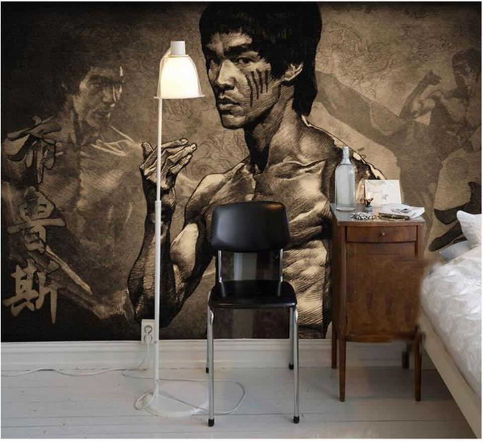 3d wallpaper photo wallpaper custom mural living room retro Bruce Lee HD painting TV background non-woven wallpaper for walls 3d free shipping european tv background wall painting non woven wallpaper living room wallpaper modern rose wallpaper mural
