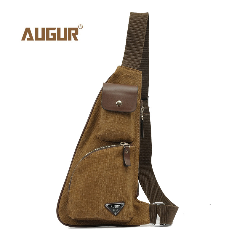 AUGUR Male Casual Travel Military Larger Sling Chest pack Bag Chest Sling Bag Men's Canvas Messenger Bags Man Shoulder Bag augur fashion men s shoulder bag canvas leather belt vintage military male small messenger bag casual travel crossbody bags