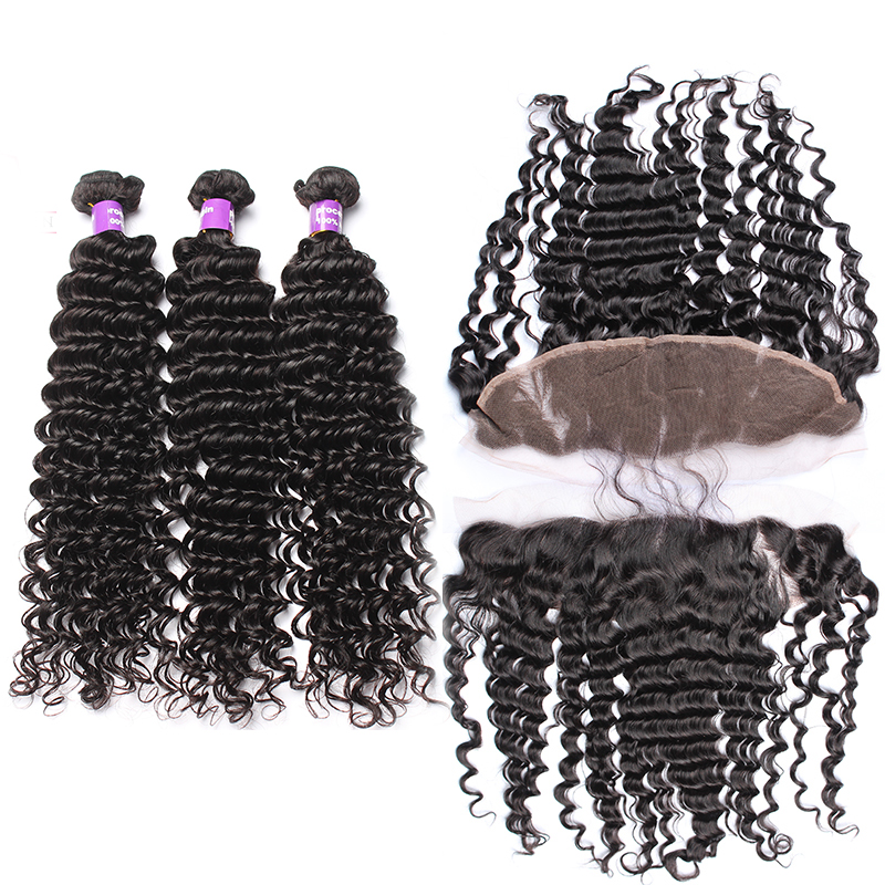 Lace Frontal Closure With Bundles Deep Wave Brazilian Hair Weave Human Hair 3 Bundles With 13x4 Frontal Closure Cara Remy