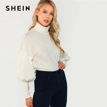 SHEIN White Workwear Elegant Mock Neck Leg-of-Mutton Sleeve Solid Sweatshirt 2018 Autumn Minimalist Women Pullover Sweatshirts