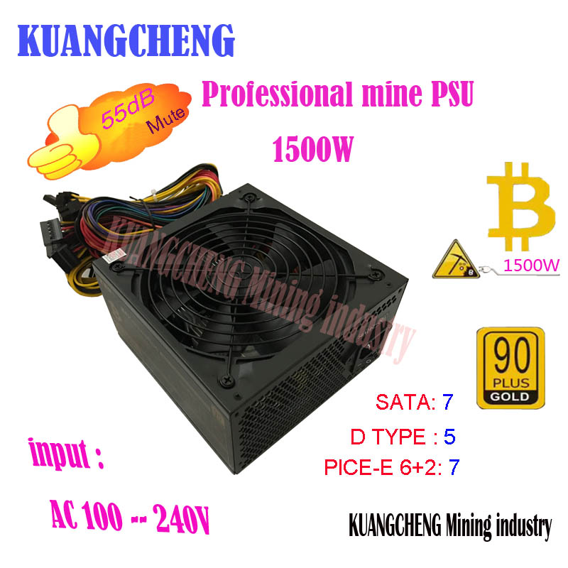 KUANGCHENG ETH ZCASH MINER Gold POWER 1500W Kenwei 1500W BTC Power Supply For RX 470 /570 RX480/580 6 GPU CARDS