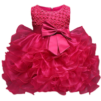 Summer Dress Bady Girl Dress Wedding Dresses For Girls Bow Solid Little Girl Boutique Clothing Flower