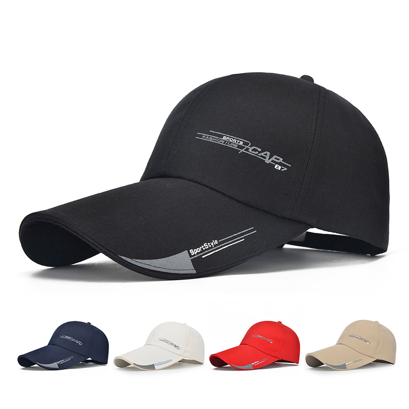 Baseball Cap Mens Hat For Fish Casual Leisure Hats Solid Fashion Snapback Summer Hat High Quality Long Visor Brim Shade Cap baseball cap men s adjustable cap casual leisure hats solid color fashion snapback autumn winter hat