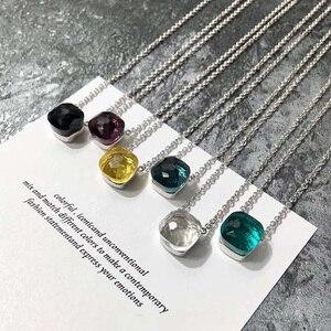 Image 2 - SLJELY znane marki eleganckie wielokolorowe cukierki Faceted kryształ i kamień kwadratowy wisiorek naszyjnik moda kobiety dziewczyny Party biżuteria