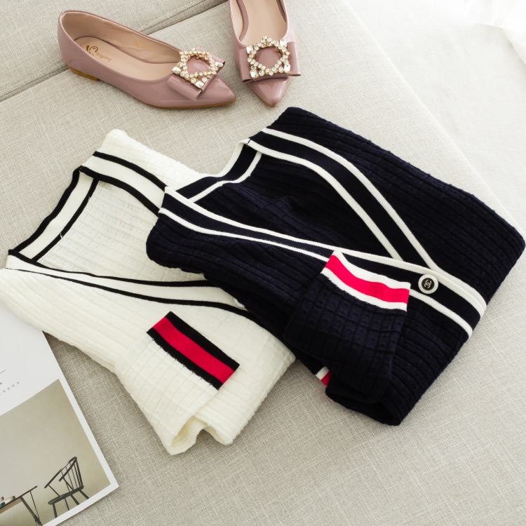 Autumn new ladies High end boutique contrast edge V neck wool blend knitted cardigan