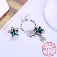 2018 New 925 Sterling Silver Fashion Jewelry Blue Crystal Cute Tiny Asymmetric Star Stud Earrings Brinco