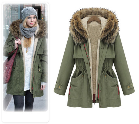 2015 New women Parkas Thick Cotton Padded Lining winter coat army ...