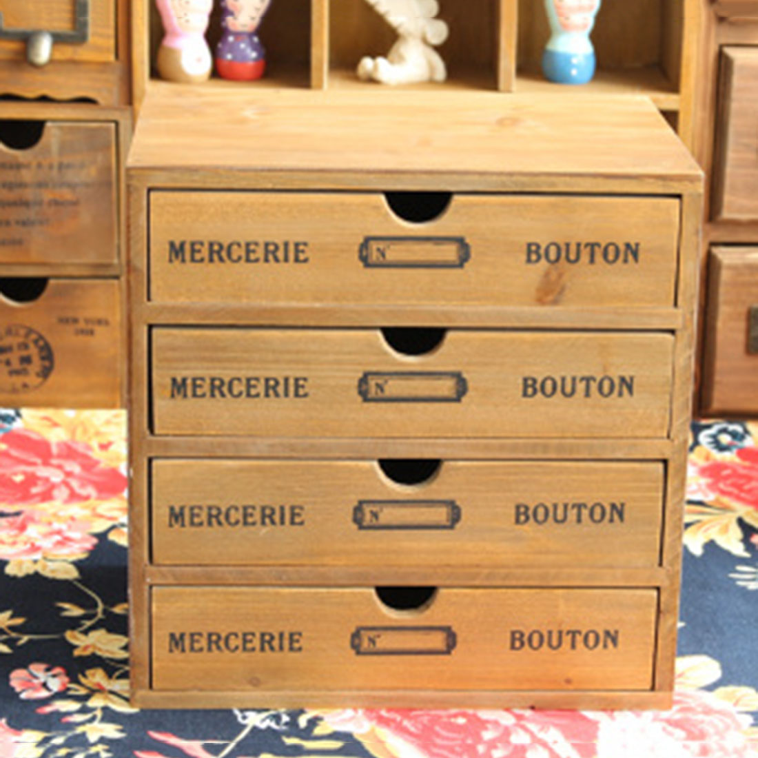 TSSAAG tiroir ménage essentiel tiroir en bois coffre de rangement boîte bureau organiseur de bureau nouvelle-zélande pin trois sortes