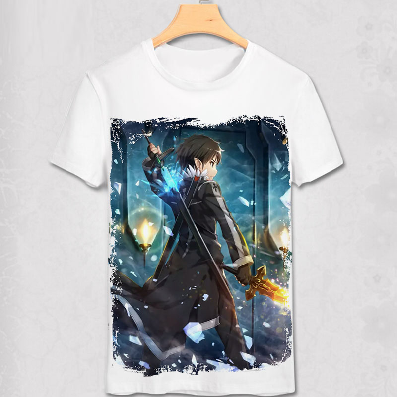 2016 Sword Art Online Kirito Kazuto Kirigaya T Shirt Anime Japanese Animation Novelty Summer Men's T-shirt Cosplay Clothing