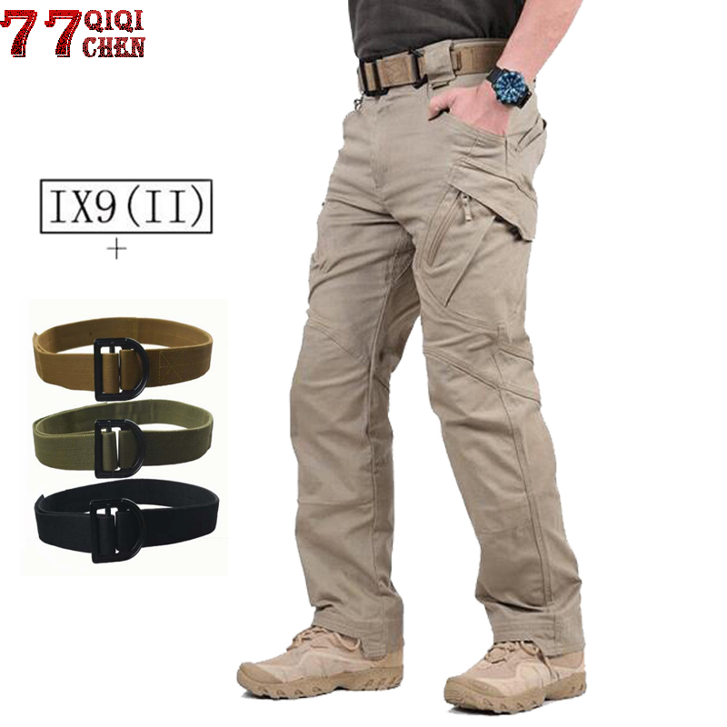 IX9 Military Tactical Pants Men With Tactical Belts Combat Trousers Army Cargo Pants Men Military SWAT Casual Many Pockets Pants