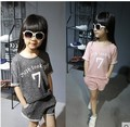 Children's Clothes Girls Summer Sport Suit Short Sleeve Shorts Two-piece Outfit Kids Clothing Sets Grey Pink Letter Print