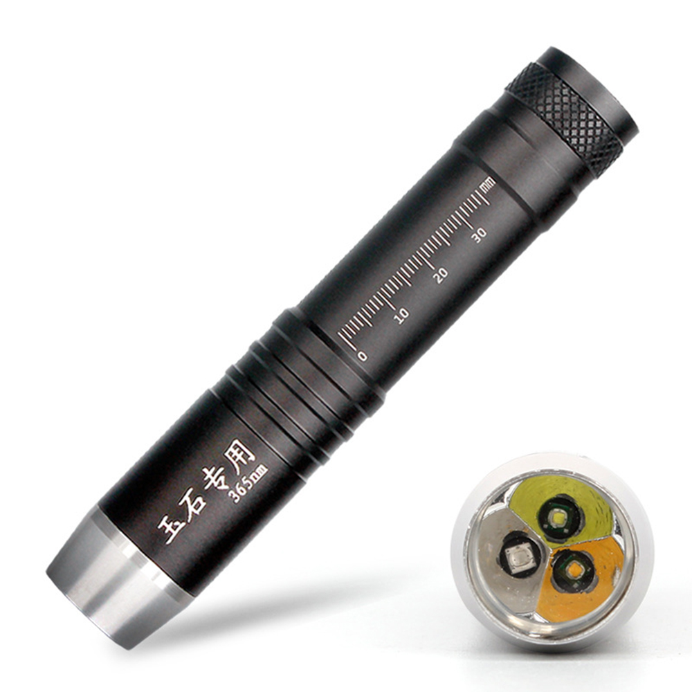 3IN1 LED Flashlight 18650 Yellow Light Jems Lampe UV Led 365NM Black Light Sources Fluorescent Jewelry Detector Linterna