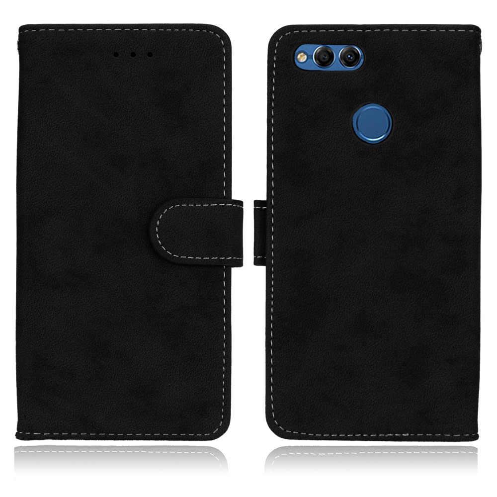 Untuk Huawei Kehormatan 7X Honor7X Bermain Case Vintage Matte Dompet PU Kulit Silikon Flip Ponsel Casing untuk Huawei Honor 7X5.93 ''Cover