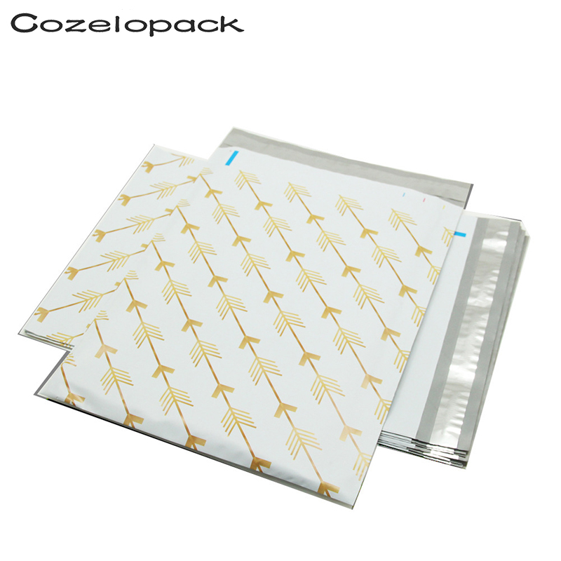 100PCS 10x13inch Printing Poly Mailer 26x33cm Gold Arrows Pattern Poly Mailer Self Seal Envelopes