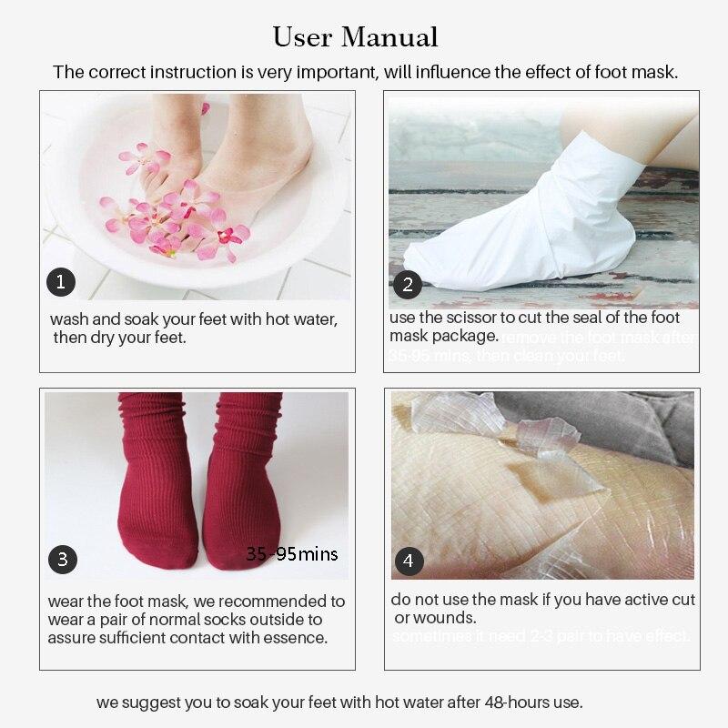 efero 2 pair Lavender Foot Socks Remove Dead Skin Smooth Deep Skin Repair Foot Nourish Mask Peel Renewal Heel Feet Care Mask 5