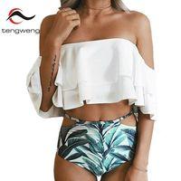 Tengweng New Ruffle Bikini Set Swmwear Women Sexy 2017 High Waist Cut Out Swimsuit Print Female