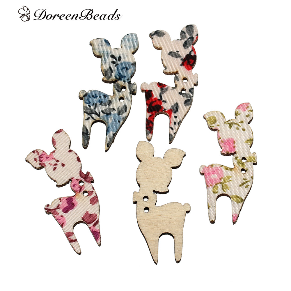 ᗔDoreenbeads madera Costura Botones scrapbooking animal Deer mixed ...