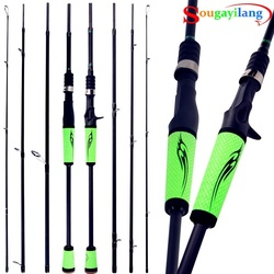 Sougayilang Fishing Rod 4 Section Casting Rod Spinning Rod Ultralight Weight Casting Spinning Fishing Rods