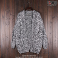 Autumn and Winter Men's Knitted Cardigan Outerwear Men Solid Color All-match Casual Sweater Medium-long Cardigan