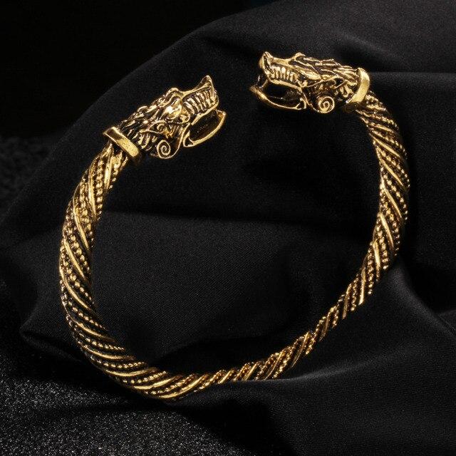 0ba192f82814 Brazalete de dragón Punk de moda de plata de oro antiguo para Mujeres  Hombres brazaletes pulseras