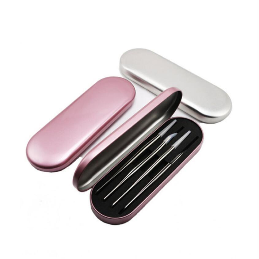 Silvery Storage Box For Eyelash Extension Tweezers Organizer Case Eyelashes Eyeliner Pencil Case Organizer Makeup Tool Kit D40