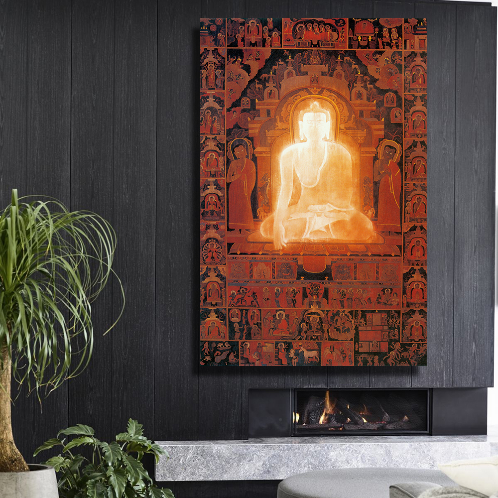 QKART Wall Decor Framelesss Buddha enlightenment Oil Painting Canvas Print Wall Pictures for Living Room BedroomPosters
