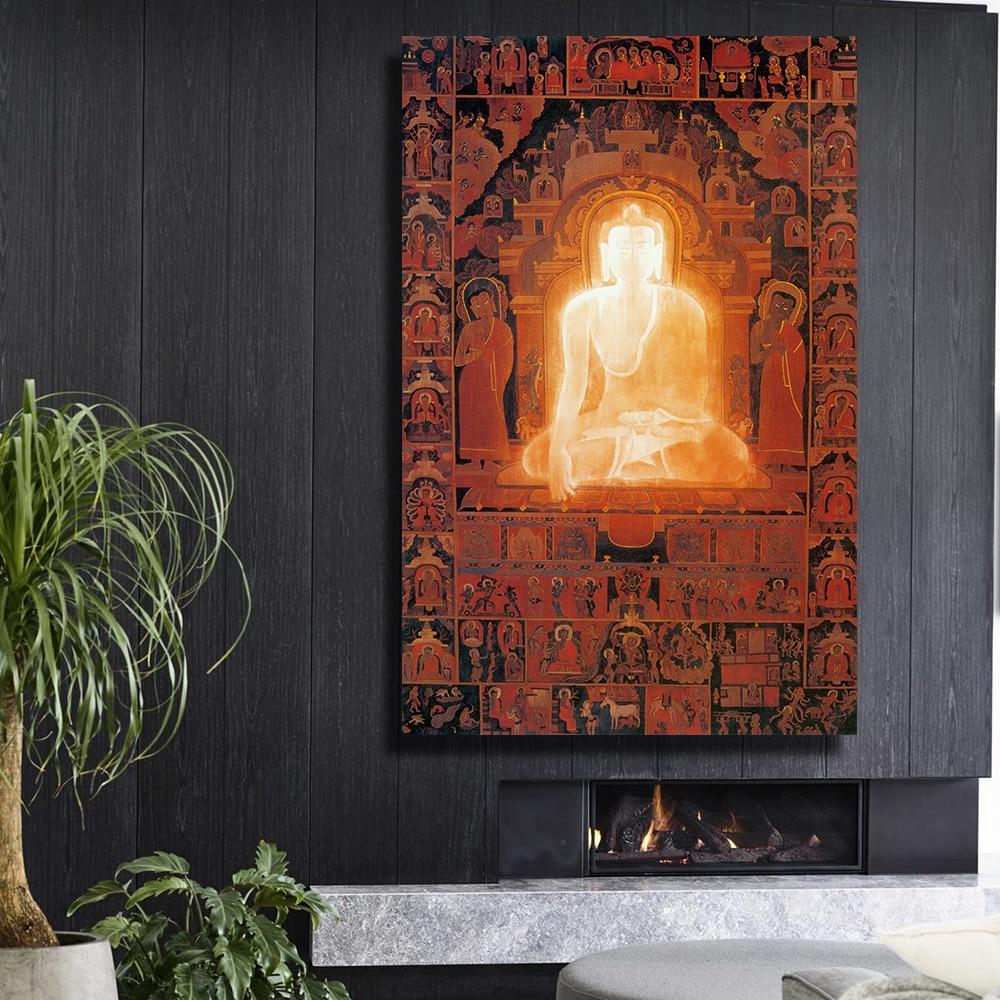 Framelessoil Paintings Canvas Colorful Buddha Sitting Wall: QKART Wall Decor Framelesss Buddha Enlightenment Oil