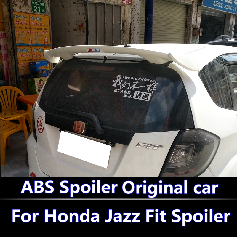 For 2008-2013 Honda Jazz Fit Spoiler High Quality ABS Material Car Rear Wing Primer Color Rear Spoiler For Honda Fit Spoiler цена