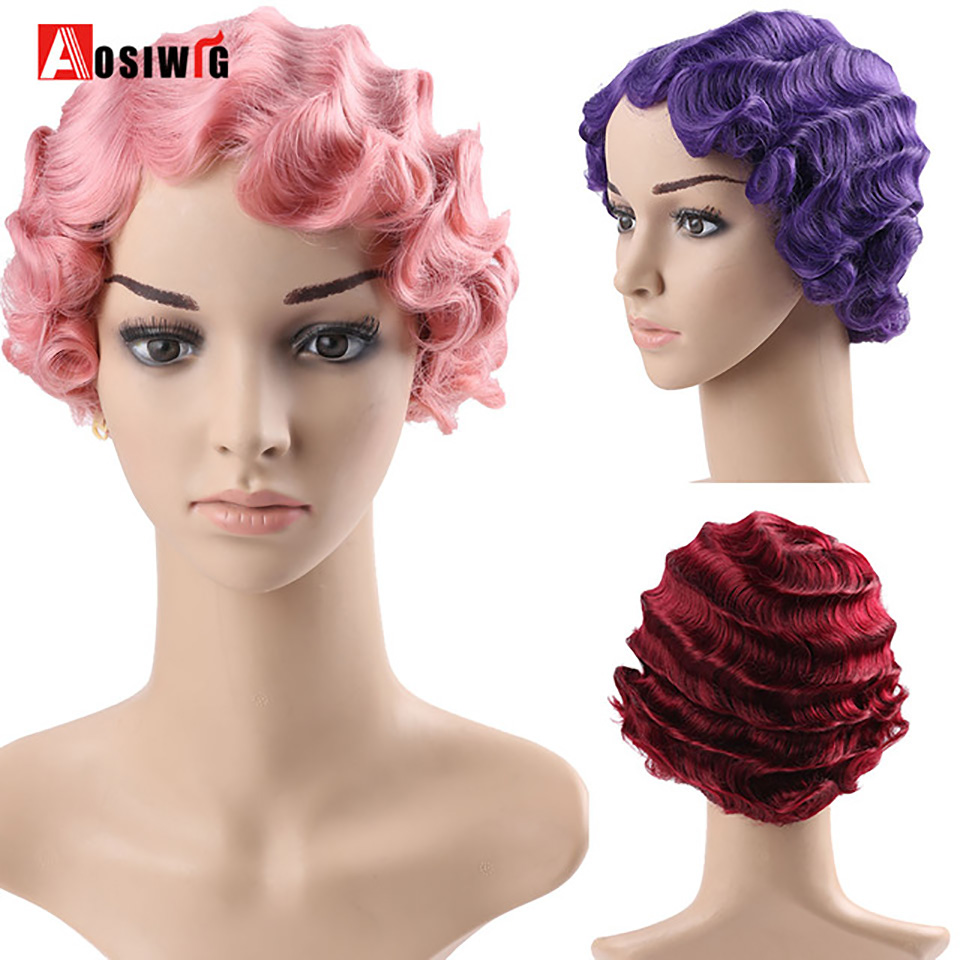 AOSIWIG  Short Curly Black Cute Wig for Black Finger Waves Women African Afro Hair Synthetic Wigs For Black Women Short Hair