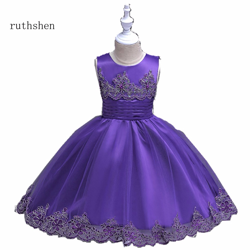 ruthshen Lovely In Stock Purple/Red/Rose/Blue Appliques   Flower     Girl     Dresses   Sash Long Sleeveless Puffy Ankle Length 2018