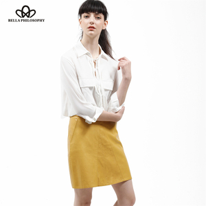 Image 5 - Bella Philosophy winter high waist Skrit PU faux leather women skirt pink yellow black green blue zipper mini skirt women