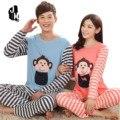 Inverno Manga Longa de Algodão Da Listra Conjuntos de Pijama Macaco Dos Desenhos Animados Homewear Pijama do Homem E Mulheres Casal Amante Adulto Sleepwear
