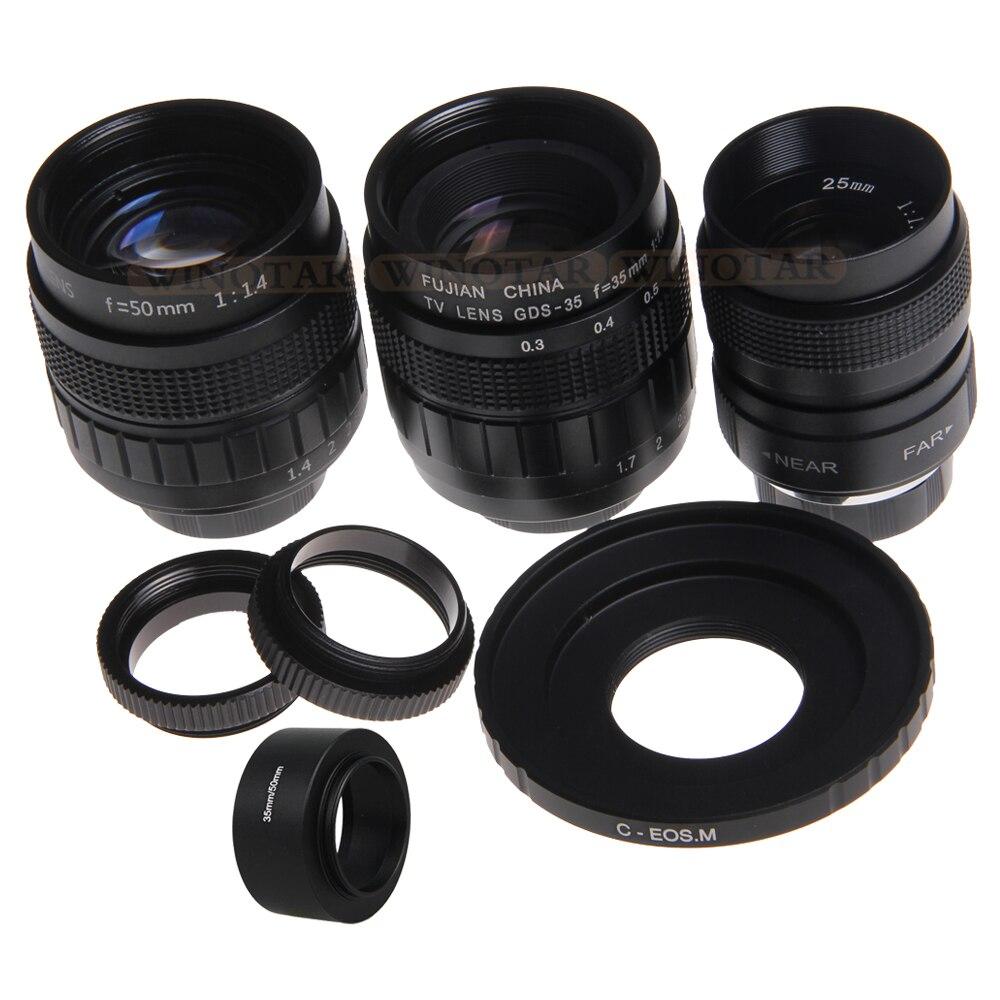 FUJIAN 3in1 CCTV 25mm f1.4 objectif/35mm f1.7 objectif/50mm f1.4 Kit de montage d'objectif anneau C-EOS M anneau pour Canon EOS M EOS M2 M3 M5 M6 M10