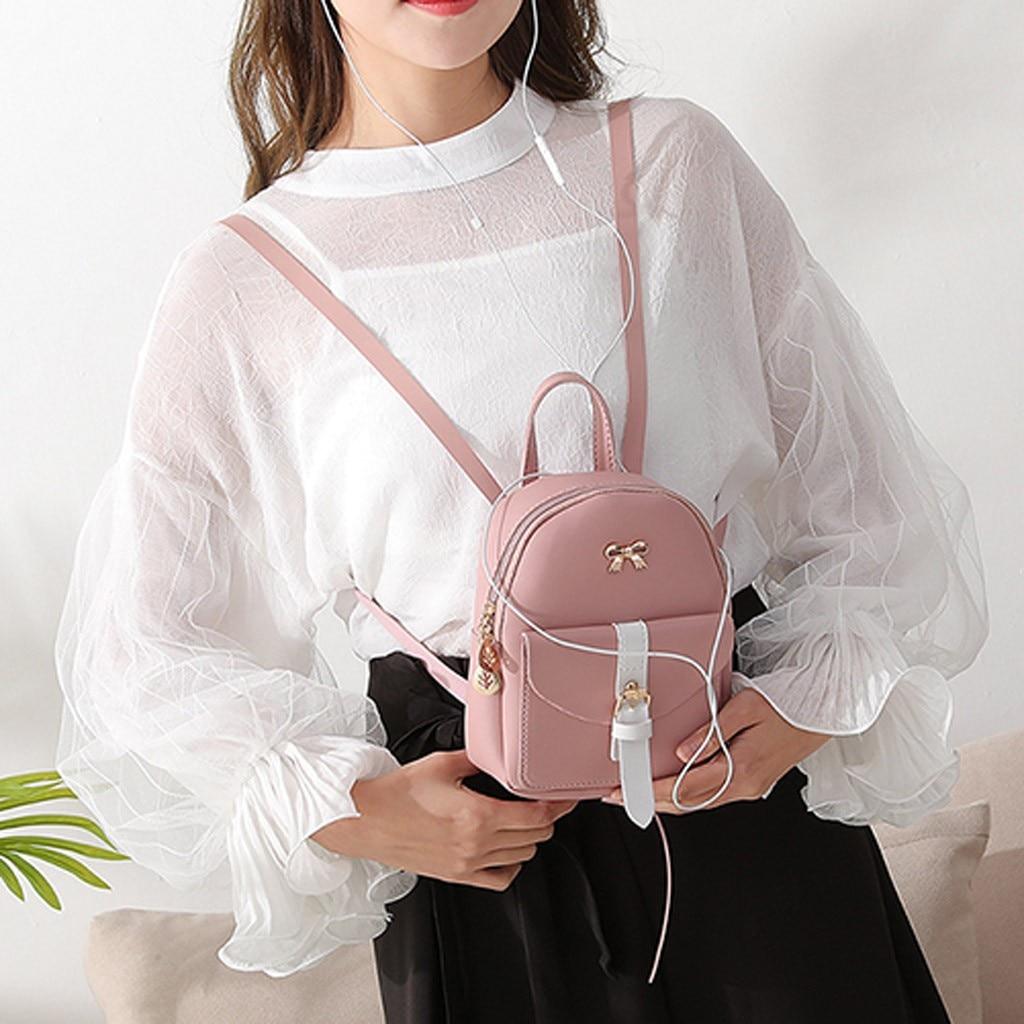 HTB1uM9tNhYaK1RjSZFnq6y80pXaP Convenient fashion Travel Fashion Lady Shoulders Small Backpack Letter Purse Mobile Phone mochilas Canta