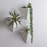 Metal Triangular flower vases gold metal wall vases hanging